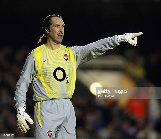 David Seaman of Arsenal in action during the FA Cup QuarterFinal match between Arsenal and Chelsea held on March 8 2003 at Highbury in London The...