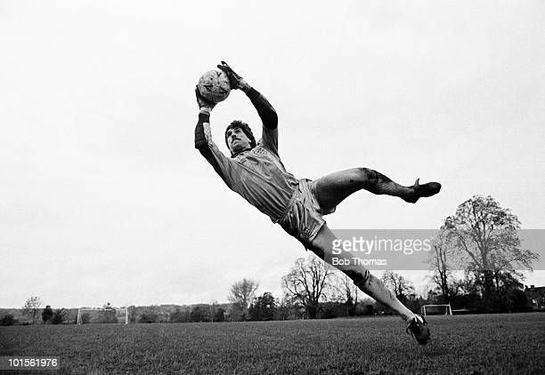 David Seaman Queens Park Rangers and England goalkeeper in action at Bisham Abbey near High Wycombe on 10th November 1986