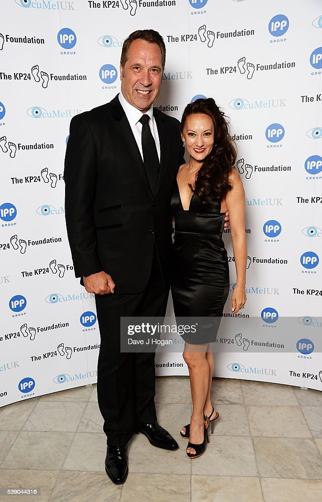 David Seaman (L) with wife Frankie Poultney attend The KP24 Foundation Charity Gala Dinner at The Waldorf Hilton Hotel on June 9, 2016 in London, England.