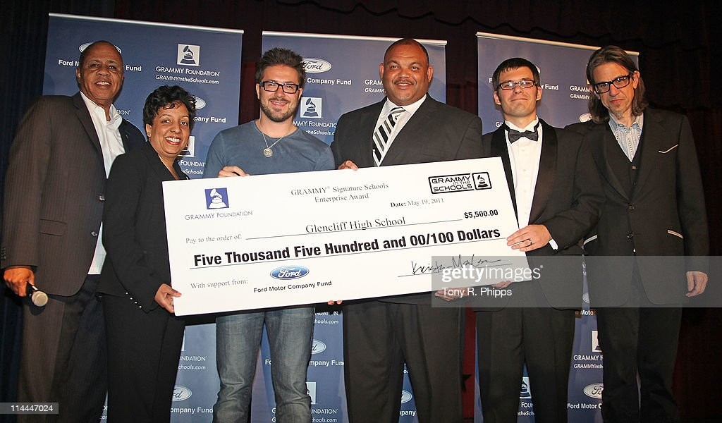 David Sears (Senior Director Grammy Foundation), Angela Polk (Manager/Community Development, Ford Motor Company Fund), Danny Gokey, Tony Majors (Principal Glencliff High School), Danny Combs (Music Teacher Glencliff High School) and Scott Goldman at the GRAMMY Foundation's GRAMMY Signature Schools Enterprise Award Presentation at Glencliff High School - auditorium on May 19, 2011 in Nashville, Tennessee.
