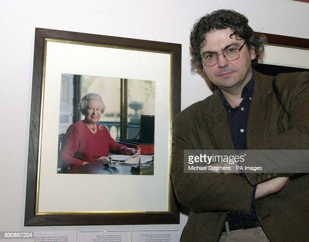 David Secombe son of the late Sir Harry Secombe at the National Portrait Gallery to see his portrait of the Queen before it goes on display to the...
