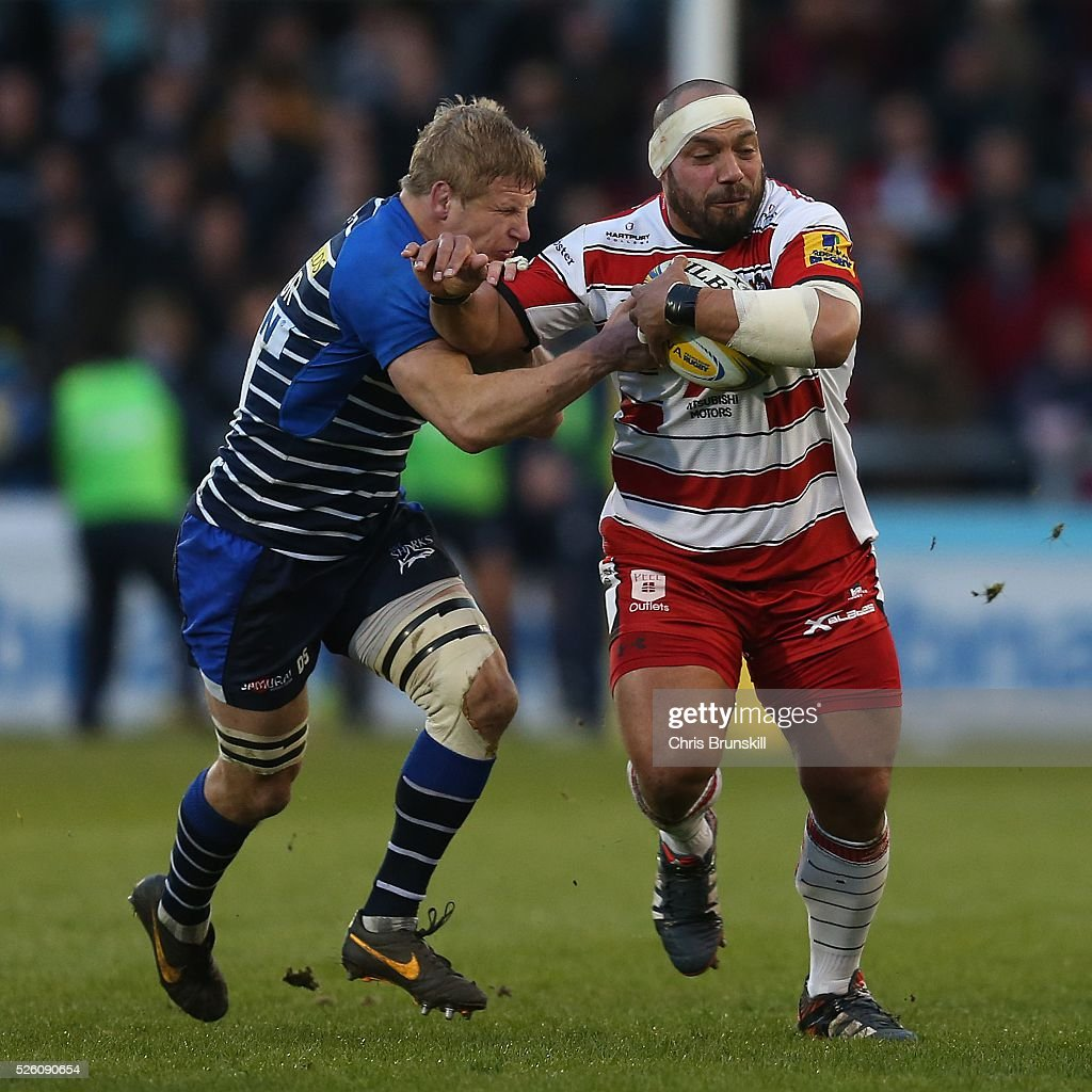 David Seymour of Sale Sharks tackles <a gi-track='captionPersonalityLinkClicked' href=/galleries/search?phrase=John+Afoa&family=editorial&specificpeople=577293 ng-click='$event.stopPropagation()'>John Afoa</a> of Gloucester Rugby during the Aviva Premiership match between Sale Sharks and Gloucester Rugby at the AJ Bell Stadium on April 29, 2016 in Salford, England.