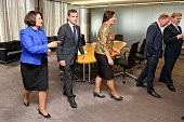 David Seymour speaks to National MP Hekia Parata after his appointment as a Parliamentary UnderSecretary at The Beehive on October 13 2014 in...
