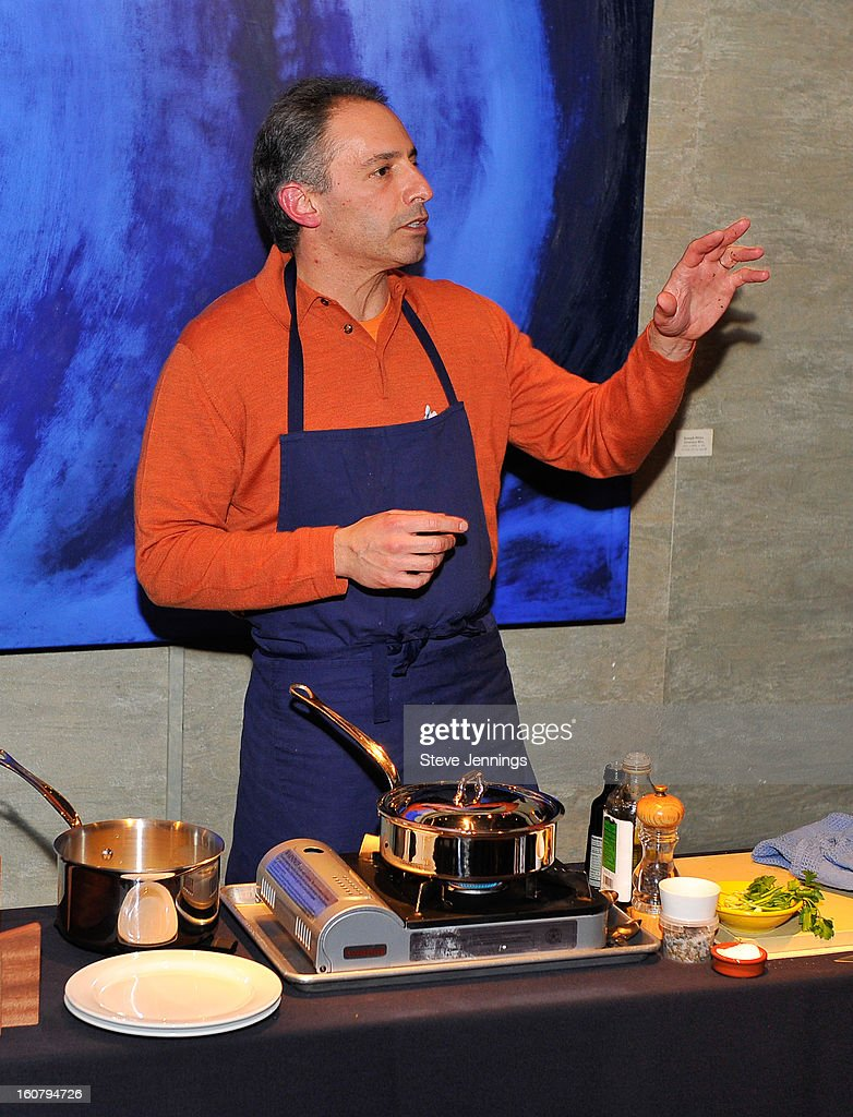David Shalleck fine dining chef cooks for the crowd at the Syracuse University's San Francisco Donor Reception at Waterbar Restaurant on February 5, 2013 in San Francisco, California.
