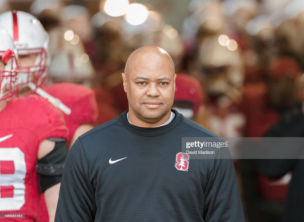 David Shaw Head Coach of the Stanford Cardinal enters the field with his team before an NCAA football game against the Notre Dame Fighting Irish...