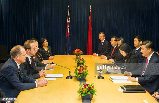 David Shearer and Leader of the Opposition Andrew Little talk with Chinese President Xi Jinping at SkyCity Grand Hotel on November 21 2014 in...