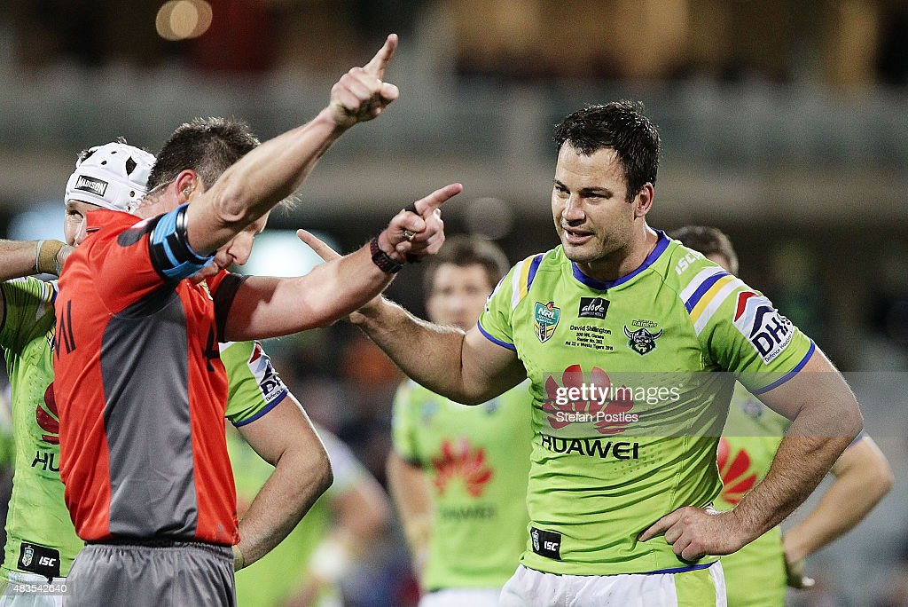 David Shillington of the Raiders is sent off after headbutting Aaron Woods of the Tigers during the round 22 NRL match between the Canberra Raiders and the Wests Tigers at GIO Stadium on August 10, 2015 in Canberra, Australia.