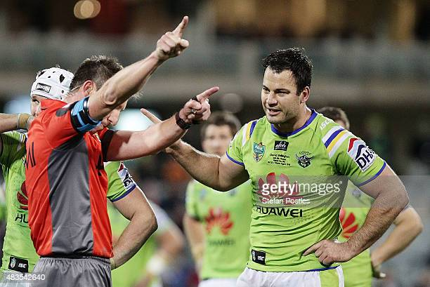 David Shillington of the Raiders is sent off after headbutting Aaron Woods of the Tigers during the round 22 NRL match between the Canberra Raiders...
