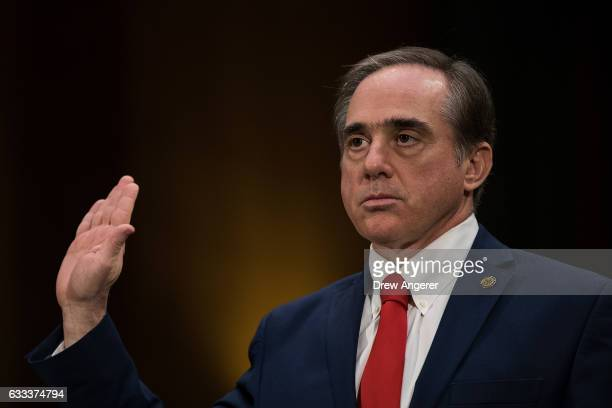 David Shulkin President Donald Trump's nominee for Secretary of Veterans Affairs is swornin during his confirmation hearing with the Senate Committee...