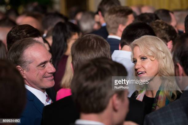 David Shulkin US Secretary of Veterans Affairs and Kellyanne Conway Counselor to President Donald Trump were present for the ceremony honoring the...