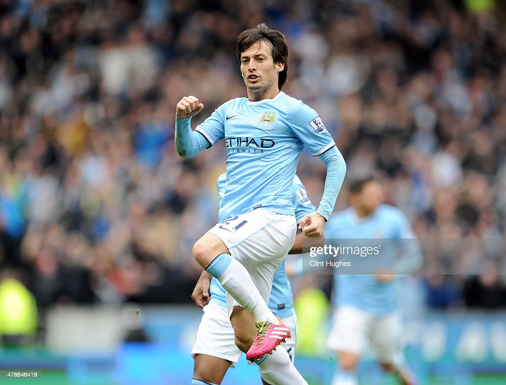 <a gi-track='captionPersonalityLinkClicked' href=/galleries/search?phrase=David+Silva&family=editorial&specificpeople=675795 ng-click='$event.stopPropagation()'>David Silva</a> of Manchester City celebrates after he scores the first goal of the game for his side during the Barclays Premier League match between Hull City and Manchester City at the KC Stadium on March 15, 2014 in Hull, England.