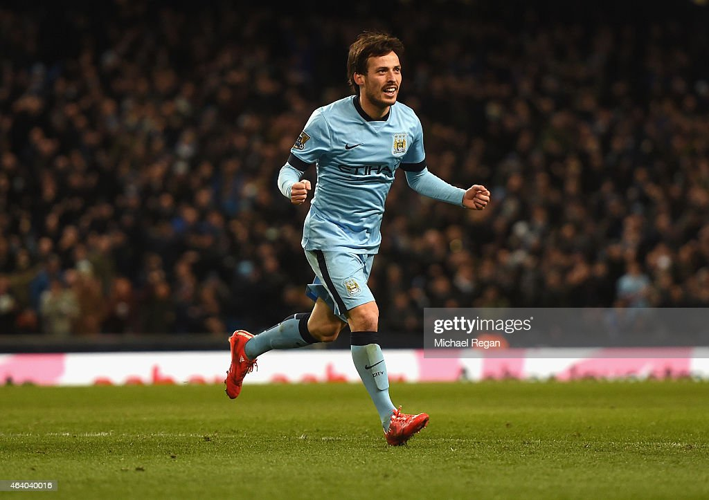<a gi-track='captionPersonalityLinkClicked' href=/galleries/search?phrase=David+Silva&family=editorial&specificpeople=675795 ng-click='$event.stopPropagation()'>David Silva</a> of Manchester City celebrates scoring their fifth goal during the Barclays Premier League match between Manchester City and Newcastle United at Etihad Stadium on February 21, 2015 in Manchester, England.