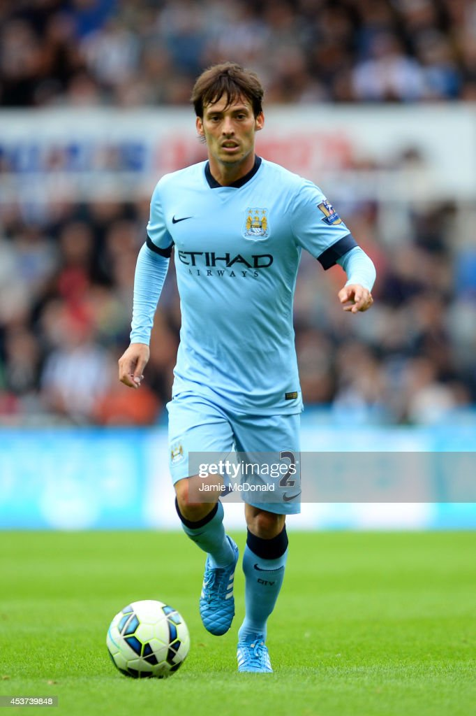<a gi-track='captionPersonalityLinkClicked' href=/galleries/search?phrase=David+Silva&family=editorial&specificpeople=675795 ng-click='$event.stopPropagation()'>David Silva</a> of Manchester City controls the ball during the Barclays Premier League match between Newcastle United and Manchester City at St James' Park on August 17, 2014 in Newcastle upon Tyne, England.