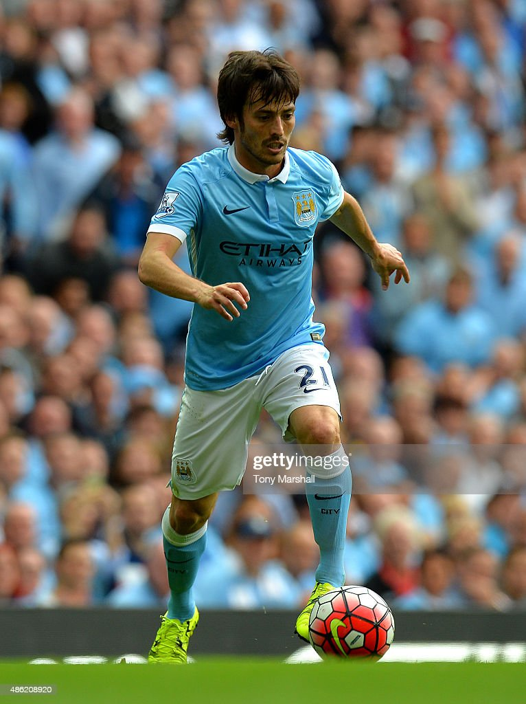 <a gi-track='captionPersonalityLinkClicked' href=/galleries/search?phrase=David+Silva&family=editorial&specificpeople=675795 ng-click='$event.stopPropagation()'>David Silva</a> of Manchester City during the Barclays Premier League match between Manchester City and Watford at the Etihad Stadium on August 29, 2015 in Manchester, United Kingdom.