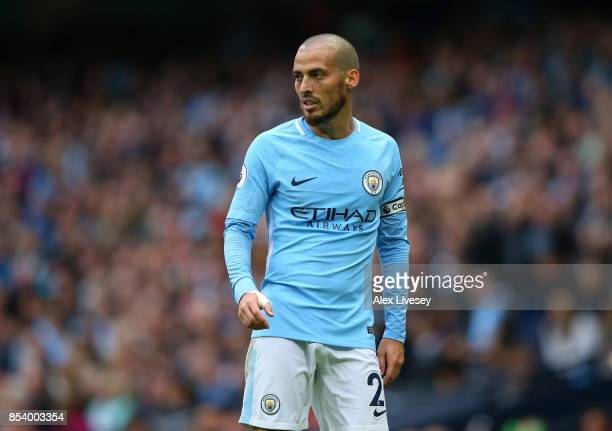 David Silva of Manchester City during the Premier League match between Manchester City and Crystal Palace at Etihad Stadium on September 23 2017 in...