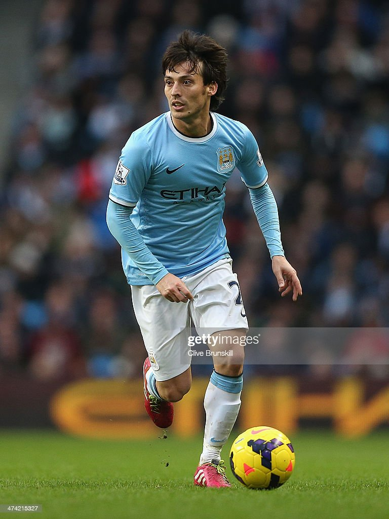 <a gi-track='captionPersonalityLinkClicked' href=/galleries/search?phrase=David+Silva&family=editorial&specificpeople=675795 ng-click='$event.stopPropagation()'>David Silva</a> of Manchester City in action during the Barclays Premier League match between Manchester City and Stoke City at the Etihad Stadium on February 22, 2014 in Manchester, England.