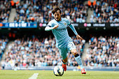 David Silva of Manchester City in action during the Barclays Premier League match between Manchester City and Southampton held at Etihad Stadium on...
