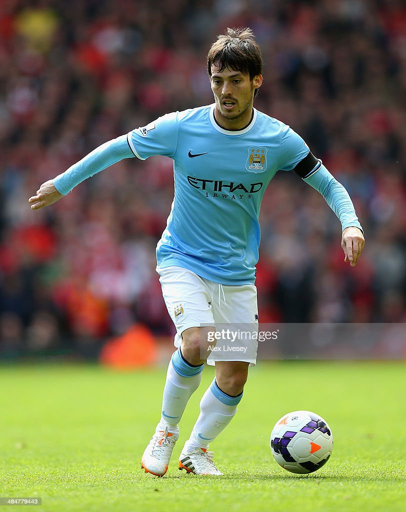 <a gi-track='captionPersonalityLinkClicked' href=/galleries/search?phrase=David+Silva&family=editorial&specificpeople=675795 ng-click='$event.stopPropagation()'>David Silva</a> of Manchester City in action during the Barclays Premier League match between Liverpool and Manchester City at Anfield on April 13, 2014 in Liverpool, England.