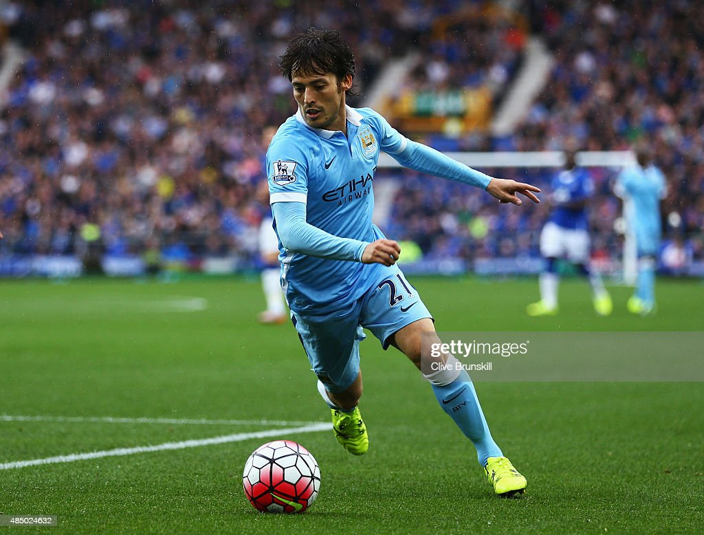 <a gi-track='captionPersonalityLinkClicked' href=/galleries/search?phrase=David+Silva&family=editorial&specificpeople=675795 ng-click='$event.stopPropagation()'>David Silva</a> of Manchester City in action during the Barclays Premier League match between Everton and Manchester City at Goodison Park on August 23, 2015 in Liverpool, England.