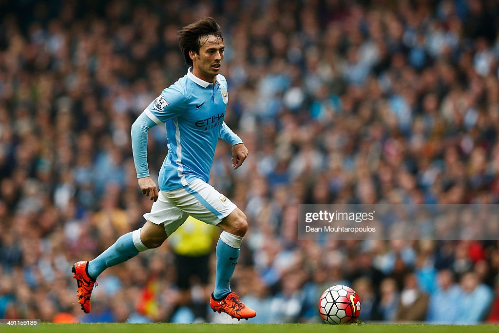 <a gi-track='captionPersonalityLinkClicked' href=/galleries/search?phrase=David+Silva&family=editorial&specificpeople=675795 ng-click='$event.stopPropagation()'>David Silva</a> of Manchester City in action during the Barclays Premier League match between Manchester City and Newcastle United at Etihad Stadium on October 3, 2015 in Manchester, United Kingdom.