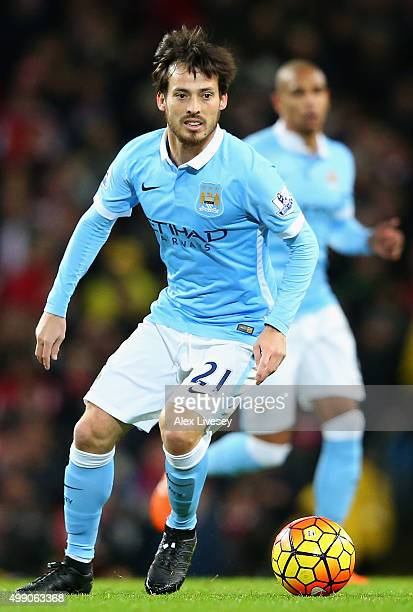 David Silva of Manchester City in action during the Barclays Premier League match between Manchester City and Southampton at the Etihad Stadium on...