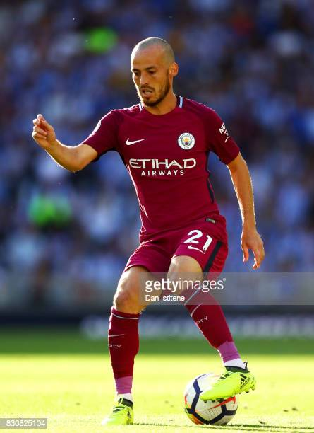 David Silva of Manchester City in action during the Premier League match between Brighton and Hove Albion and Manchester City at Amex Stadium on...