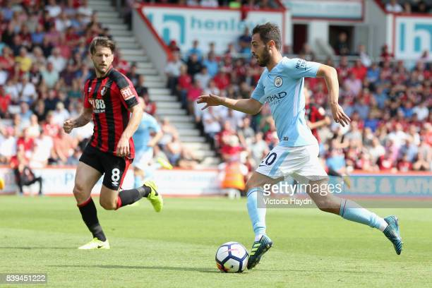 David Silva of Manchester City in action during the Premier League match between AFC Bournemouth and Manchester City at Vitality Stadium on August 26...