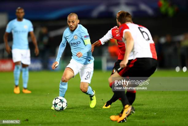 David Silva of Manchester City in action during the UEFA Champions League group F match between Feyenoord and Manchester City at Feijenoord Stadion...