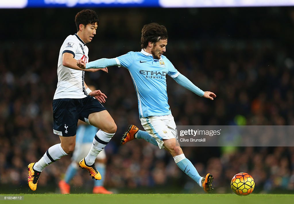 <a gi-track='captionPersonalityLinkClicked' href=/galleries/search?phrase=David+Silva&family=editorial&specificpeople=675795 ng-click='$event.stopPropagation()'>David Silva</a> of Manchester City is closed down by Son Heung-Min of Tottenham Hotspur during the Barclays Premier League match between Manchester City and Tottenham Hotspur at Etihad Stadium on February 14, 2016 in Manchester, England.