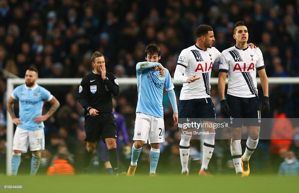 <a gi-track='captionPersonalityLinkClicked' href=/galleries/search?phrase=David+Silva&family=editorial&specificpeople=675795 ng-click='$event.stopPropagation()'>David Silva</a> of Manchester City looks dejected after the second Spurs goal during the Barclays Premier League match between Manchester City and Tottenham Hotspur at Etihad Stadium on February 14, 2016 in Manchester, England.