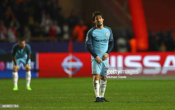 David Silva of Manchester City looks dejected in defeat after the UEFA Champions League Round of 16 second leg match between AS Monaco and Manchester...