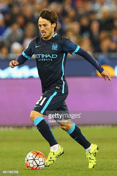 David Silva of Manchester City looks to pass the ball during the International Champions Cup match between Real Madrid and Manchester City at...