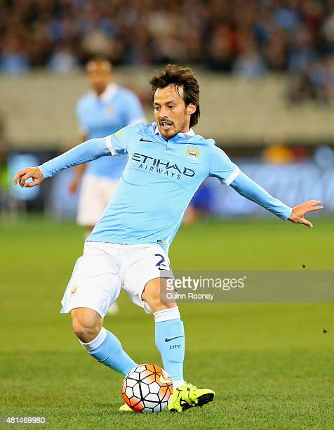 David Silva of Manchester City passes the ball during the International Champions Cup friendly match between Manchester City and AS Roma at the...