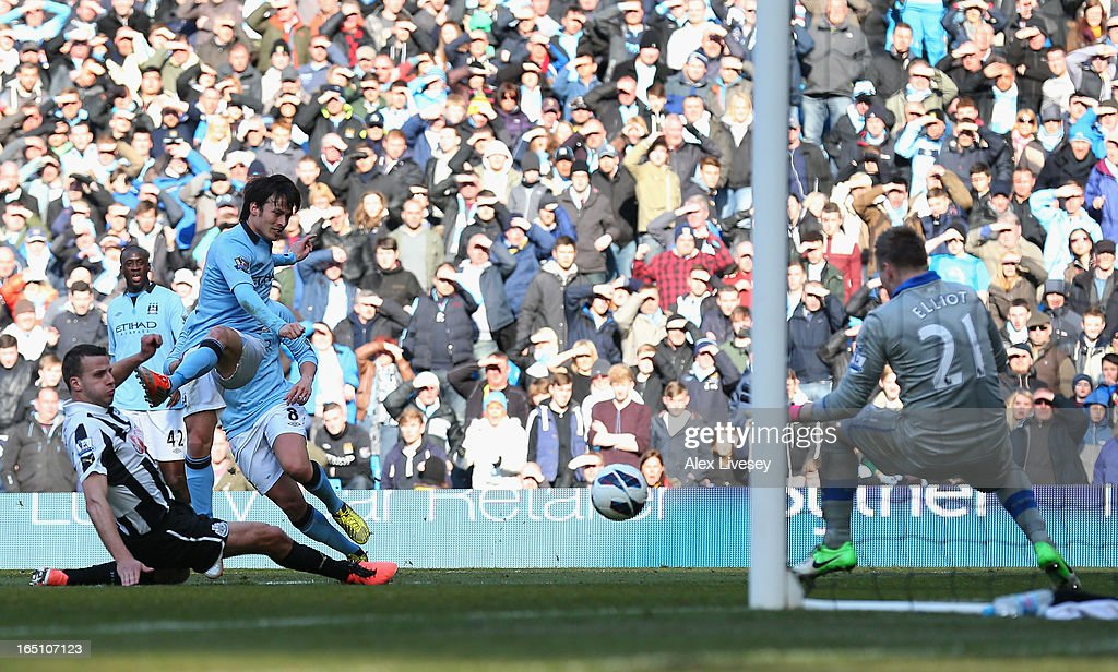 David Silva of Manchester City scores his team's second goal during the Barclays Premier League match between Manchester City and Newcastle United at the Etihad Stadium on March 30, 2013 in Manchester, England.