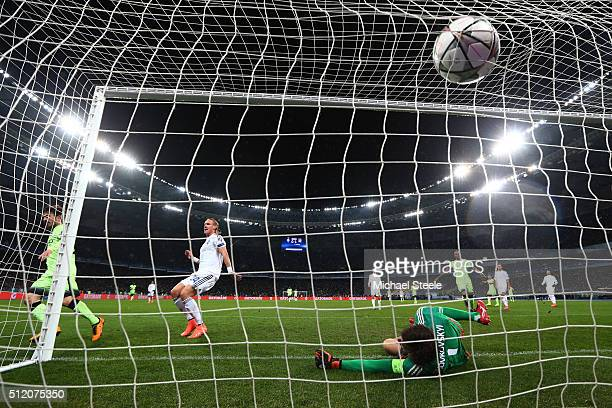 David Silva of Manchester City scores his team's second goal past goalkeeper Oleksandr Shovkovskiy of Dynamo Kiev during the UEFA Champions League...