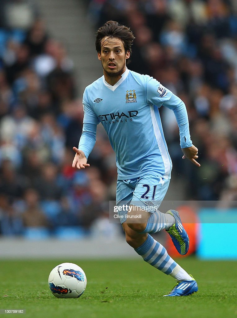 David Silva of Manchester Cityin action during the Barclays Premier League match between Manchester City and Wolverhampton Wanderers at Etihad Stadium on October 29, 2011 in Manchester, England.
