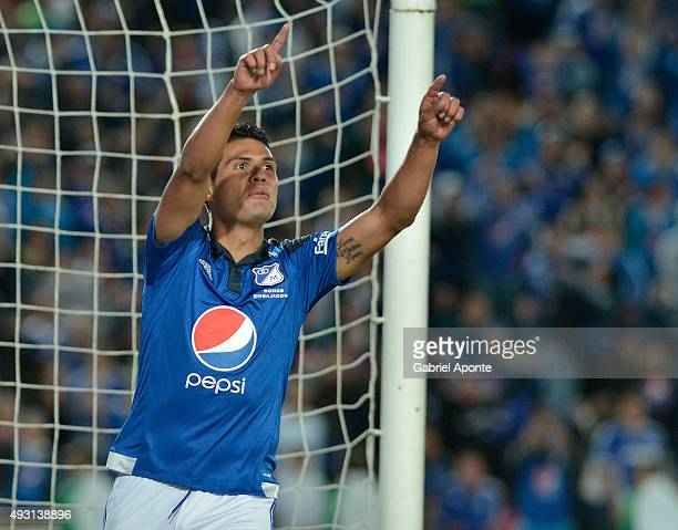 David Silva of Millonarios celebrates after scoring the third goal of his team during a match between Millonarios and Jaguares FC as part of round 16...