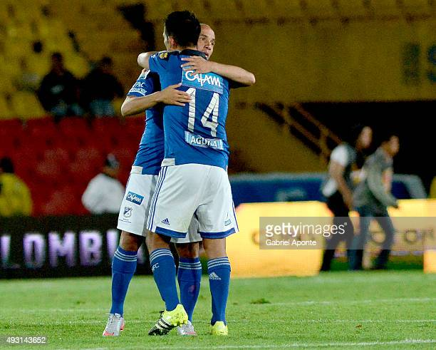 David Silva of Millonarios celebrates with his teammate after a match between Millonarios and Jaguares FC as part of round 16 of Liga Aguila II 2015...