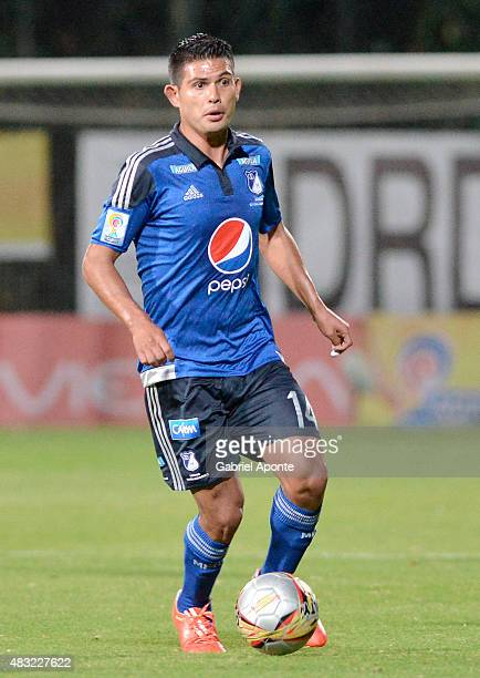 David Silva of Millonarios drives the ball during a match between Patriotas FC and Millonarios as part of Liga Aguila II 2015 at Metropolitano de...