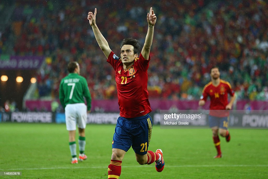 <a gi-track='captionPersonalityLinkClicked' href=/galleries/search?phrase=David+Silva&family=editorial&specificpeople=675795 ng-click='$event.stopPropagation()'>David Silva</a> of Spain celebrates scoring his goal during the UEFA EURO 2012 group C match between Spain and Ireland at The Municipal Stadium on June 14, 2012 in Gdansk, Poland.