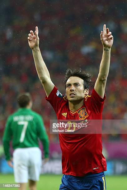 David Silva of Spain celebrates scoring their second goal during the UEFA EURO 2012 group C match between Spain and Ireland at The Municipal Stadium...