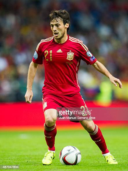 David Silva of Spain controls the ball during the Spain v Slovakia EURO 2016 Qualifier at Carlos Tartiere on Sep 5 2015 in Oviedo Spain