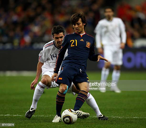 David Silva of Spain during the France v Spain International Friendly match at the Stade de France on March 3 2010 in Paris France