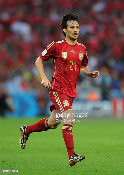 David Silva of Spain in action during the 2014 FIFA World Cup Brazil Group B match between Spain and Chile at Maracana Stadium on June 18 2014 in Rio...