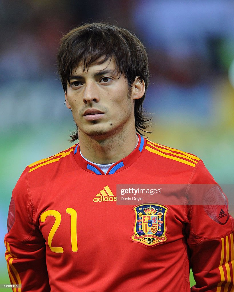 David Silva of Spain lines-up before the International friendly match between Argentina and Spain at the Vicente Calderon stadium on November 14, 2009 in Madrid, Spain.