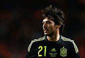 David Silva of Spain looks on during the international friendly match between the Netherlands and Spain held at Amsterdam Arena on March 31 2015 in...