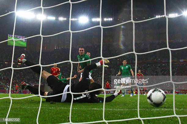 David Silva of Spain scores their second goal past Shay Given of Republic of Ireland during the UEFA EURO 2012 group C match between Spain and...
