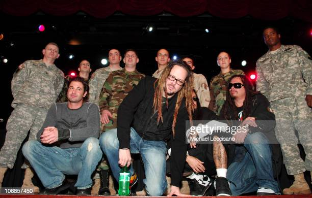 David Silveria Jonathan Davis Fieldy James 'Munky' Shaffer and US Soldiers