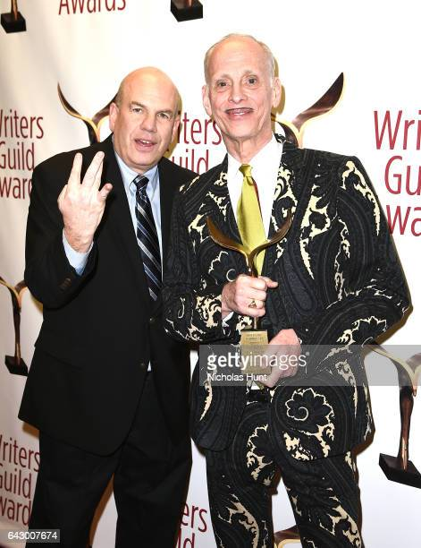 David Simon and John Waters pose backstage with award during 69th Writers Guild Awards New York Ceremony at Edison Ballroom on February 19 2017 in...