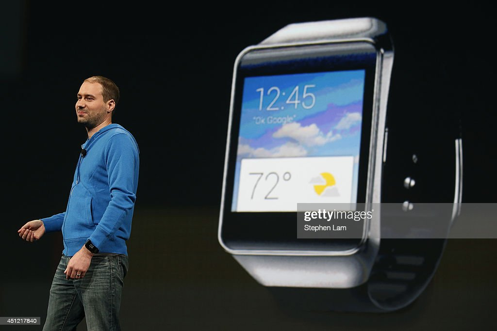 David Singleton, Director of Engineering of Android at Google, stands in front of a Samsung Gear Live watch during the Google I/O Developers Conference at Moscone Center on June 25, 2014 in San Francisco, California. The seventh annual Google I/O Developers conference is expected to draw thousands through June 26.
